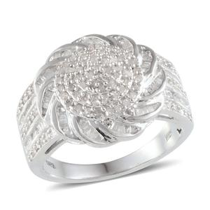 Diamond Platinum Over Sterling Silver Ring (Size 8) TDiaWt 1.00 cts, TGW 1.000 cts.