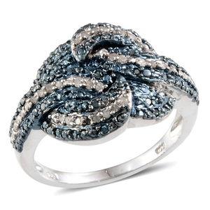 Blue Diamond (IR), Diamond Platinum Over Sterling Silver Ring (Size 8.0) TDiaWt 0.33 cts, TGW 0.330 cts.