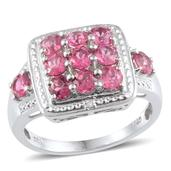 Ouro Fino Rubellite, Diamond Platinum Over Sterling Silver Ring (Size 8) TDiaWt 0.01 cts, TGW 1.760 cts.