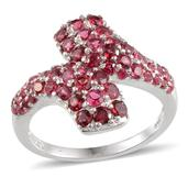 Mahenge Rose and Pink Spinel (Rnd) Ring in Platinum Overlay Sterling Silver Nickel Free (Size 9.0) TGW 3.55 Cts.