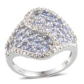 Tanzanite (Rnd), Diamond Ring in Platinum Overlay Sterling Silver Nickel Free (Size 7) TDiaWt 0.030Cts., TGW 1.73 Cts.