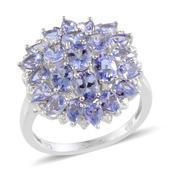 Tanzanite, Diamond Platinum Over Sterling Silver Ring (Size 10.0) TDiaWt 0.02 cts, TGW 4.520 cts.