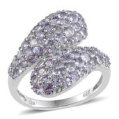 Tanzanite Platinum Over Sterling Silver Bypass Ring (Size 7.0) TGW 3.40 cts.