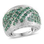 Kagem Zambian Emerald, Diamond Platinum Over Sterling Silver Ring (Size 10.0) TDiaWt 0.05 cts, TGW 3.450 cts.