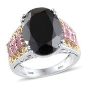 Thai Black Spinel, Mahenge Rose Spinel Platinum Over Sterling Silver Ring (Size 9.0) TGW 15.350 cts.