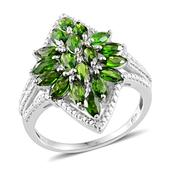 Russian Diopside, Diamond Platinum Over Sterling Silver Ring (Size 7.0) TGW 3.25 cts.