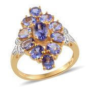 Tanzanite, Diamond 14K YG and Platinum Over Sterling Silver Ring (Size 9.0) TDiaWt 0.01 cts, TGW 4.250 cts.