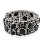 Thai Black Spinel, Diamond Platinum Over Sterling Silver Bracelet (7.50 In) TDiaWt 0.02 cts, TGW 116.220 cts.