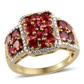 Mahenge Rose Spinel, Diamond 14K YG Over Sterling Silver Ring (Size 7.0) TDiaWt 0.03 cts, TGW 3.230 cts.