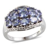 Tanzanite, Diamond Platinum Over Sterling Silver Ring (Size 6.0) TDiaWt 0.01 cts, TGW 2.912 cts.