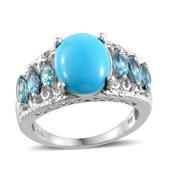 Arizona Sleeping Beauty Turquoise, Electric Blue Topaz, Diamond 14K YG and Platinum Over Sterling Silver Elegant Ring (Size 7.0) TDiaWt 0.02 cts, TGW 5.674 cts.