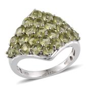 Hebei Peridot Platinum Over Sterling Silver Ring (Size 9.0) TGW 4.75 cts.