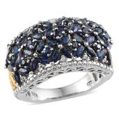 Kanchanaburi Blue Sapphire, Diamond 14K YG and Platinum Over Sterling Silver Ring (Size 7.0) TDiaWt 0.04 cts, TGW 5.440 cts.