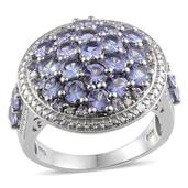 Tanzanite, Diamond Platinum Over Sterling Silver Ring (Size 9.0) TDiaWt 0.04 cts, TGW 4.420 cts.