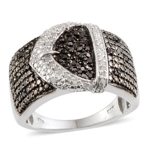 Black Diamond (IR), Diamond Platinum Over Sterling Silver Ring (Size 9.0) TDiaWt 0.50 cts, TGW 0.50 cts.
