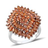 Orange Sapphire Platinum Over Sterling Silver Cluster Ring (Size 8.0) TGW 6.490 cts.
