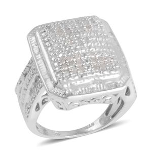 Diamond Platinum Over Sterling Silver Ring (Size 5.0) TDiaWt 0.50 cts, TGW 0.50 cts.
