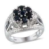 Kanchanaburi Blue Sapphire, Diamond Platinum Over Sterling Silver Open Shank Ring (Size 7.0) TDiaWt 0.02 cts, TGW 3.420 cts.
