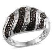 Black Diamond (IR), Diamond Platinum Over Sterling Silver Ring (Size 8.0) TDiaWt 0.50 cts, TGW 0.50 cts.