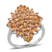 Orange Sapphire Platinum Over Sterling Silver Ring (Size 7.0) TGW 5.050 cts.