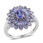 Tanzanite (Ovl 0.85 Ct) Ring in Platinum Overlay Sterling Silver Nickel Free (Size 7.0) TGW 3.250 cts.