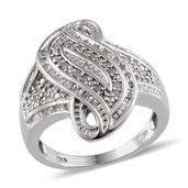 Diamond Platinum Over Sterling Silver Ring (Size 10.0) TDiaWt 0.45 cts, TGW 0.450 cts.