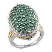 Kagem Zambian Emerald 14K YG and Platinum Over Sterling Silver Ring (Size 5.0) TGW 3.770 cts.