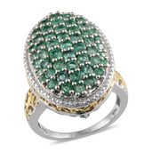 Kagem Zambian Emerald 14K YG and Platinum Over Sterling Silver Ring (Size 7.0) TGW 3.770 cts.