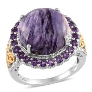 Siberian Charoite, Amethyst, Diamond 14K YG and Platinum Over Sterling Silver Ring (Size 7) TDiaWt 0.03 cts, TGW 12.740 cts.