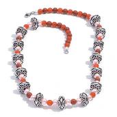Red Agate, Glass Pearl Necklace (20 in) in Silvertone with Stainless Steel Lobster Lock TGW 60.550 cts.