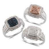 Multi Color Diamond Platinum Over Sterling Silver Set of 3 Rings (Size 6) TDiaWt 0.50 cts, TGW 0.50 cts.