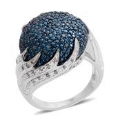 Blue Diamond (IR), Diamond Platinum Over Sterling Silver Ring (Size 10.0) TDiaWt 0.50 cts, TGW 0.500 cts.