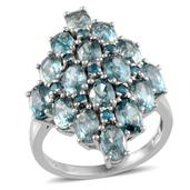 Cambodian Blue Zircon (Ovl), Malgache Neon Apatite Ring in Platinum Overlay Sterling Silver Nickel Free (Size 7.0) TGW 11.850 cts.