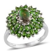 Canadian Ammolite, Russian Diopside Platinum Over Sterling Silver Ring (Size 6.0) TGW 3.500 cts.