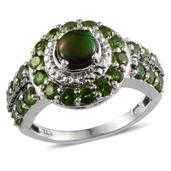 Canadian Ammolite, Russian Diopside, Black Diamond Accent, Diamond Accent Platinum Over Sterling Silver Ring (Size 6.0) TDiaWt 0.02 cts, TGW 2.700 cts.