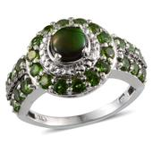 Canadian Ammolite, Russian Diopside, Black Diamond Accent, Diamond Accent Platinum Over Sterling Silver Ring (Size 7.0) TDiaWt 0.02 cts, TGW 2.700 cts.