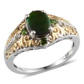 Canadian Ammolite, Russian Diopside, Diamond 14K YG and Platinum Over Sterling Silver Ring (Size 8.0) TDiaWt 0.02 cts, TGW 2.020 cts.