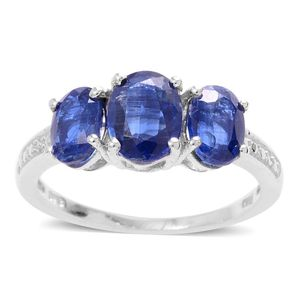 Himalayan Kyanite Platinum Over Sterling Silver 3 Stone Ring (Size 7.0) TGW 3.500 cts.