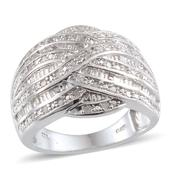 Diamond Platinum Over Sterling Silver Ring (Size 7.0) TDiaWt 0.50 cts, TGW 0.500 cts.