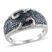 Blue Diamond (IR), Diamond Platinum Over Sterling Silver Ring (Size 6.0) TDiaWt 0.33 cts, TGW 0.330 cts.