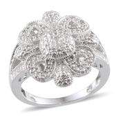 KARIS Collection - Diamond Accent Ring in Platinum Bond Brass (Size 11.0) , TDiaWt 0.05 cts, TGW 0.050 cts.
