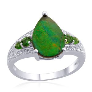 Canadian Ammolite, Russian Diopside Sterling Silver Ring (Size 7.0) TGW 2.600 cts.