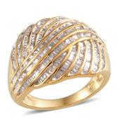 Diamond 14K YG Over Sterling Silver Ring (Size 6.0) TDiaWt 0.50 cts, TGW 0.500 cts.