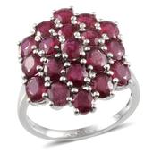 Niassa Ruby Platinum Over Sterling Silver Cluster Ring (Size 9.0) TGW 10.650 cts.