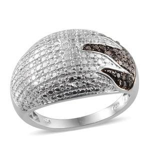 Black Diamond (IR), Diamond Platinum Over Sterling Silver Dome Ring (Size 7.0) TDiaWt 0.33 cts, TGW 0.33 cts.