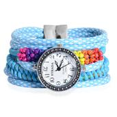 STRADA Multi Color Glass Japanese Movement Watch with Blue Silk Cord Band