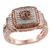 Champagne Diamond, Diamond 14K RG Over Sterling Silver Ring (Size 7.0) TDiaWt 0.33 cts, TGW 0.330 cts.