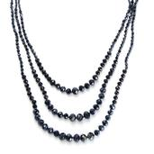 Blue Glass Necklace (26 in) in Silvertone TGW 0.001 cts.
