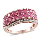 Niassa Ruby, Ruby, Diamond 14K RG and Platinum Over Sterling Silver Striking Double Row Ring (Size 7.0) TGW 3.76 cts.