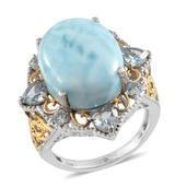 Larimar, Sky Blue Topaz Swirl Filigree 14K YG and Platinum Over Sterling Silver Ring (Size 8.0) TGW 21.62 cts.